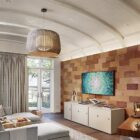 Bespoke wooden accent wall for the TV and family room
