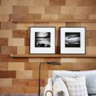 Closer look at the bespoke wooden accent wall of the den